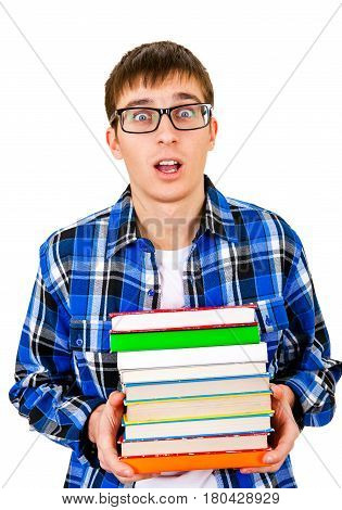 Surprised Student with a Books Isolated on the White Background