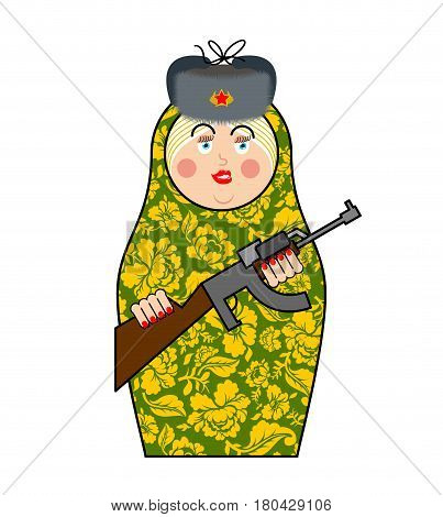 Military Matrioshka With Gun. New Russian Folk Nested Doll. National Toy. Traditional Toy In Russia