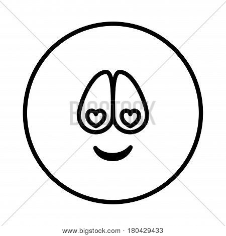 silhouette emoticon charmed face expression vector illustration