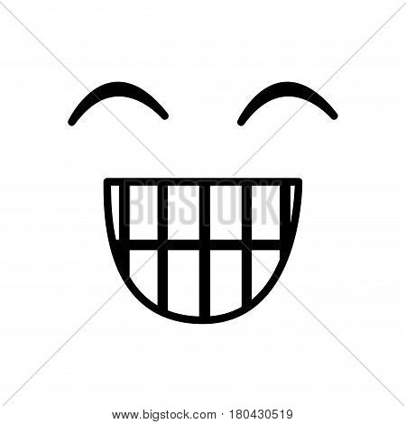 sketch silhouette emoticon happines expression vector illustration