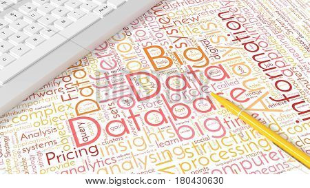 Computer keyboard on white desk with big data keywords wordcloud and yellow pen modern analytics concept 3d illustration