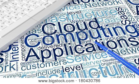 Computer keyboard on white desk with cloud computing keywords wordcloud and blue pen information technology concept 3d illustration