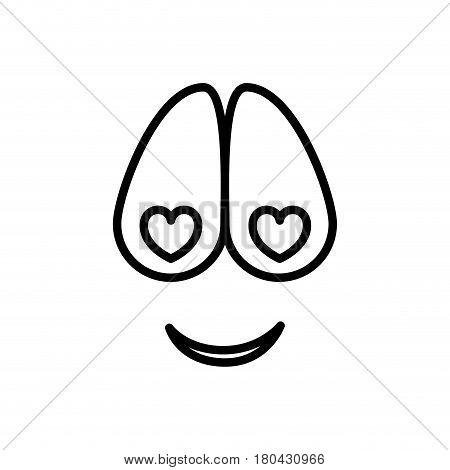 sketch silhouette emoticon crazy in love expression vector illustration