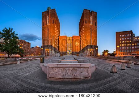 Panorama of Oslo City Hall and Fridtjof Nansens Plass in the Evening Oslo Norway