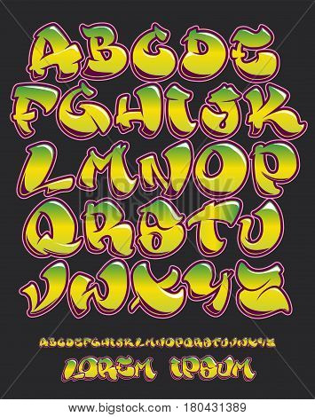Vectorial font in graffiti hand written style. Capital letters alphabet. Fully customizable colors.