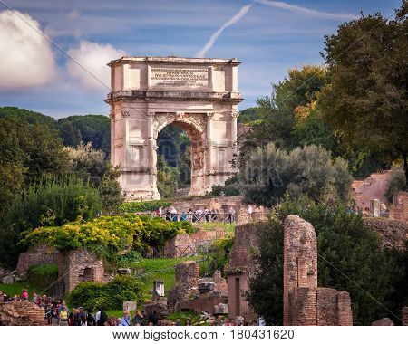 The Arch of Titus in Roman Forum Rome Italy
