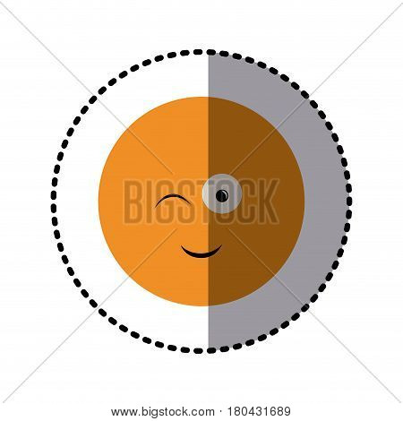 sticker colorful emoticon winking face expression vector illustration