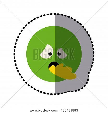 sticker colorful emoticon sick face expression vector illustration