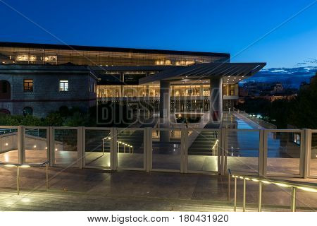 ATHENS, GREECE - JANUARY 19 2017: Night photo of Acropolis Museum in Athens, Attica, Greece