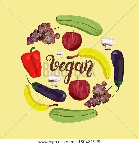 Fruit and vegetables. Vector. Hand drawn. Healthy eating vector concept. Vegan. Apple banana grape eggplant marrow squash champignon red pepper.