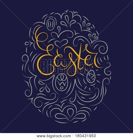 Easter egg blue background. Hand drawn lettering for Easter with decor. Religion holiday. Could be used fo greeting card.