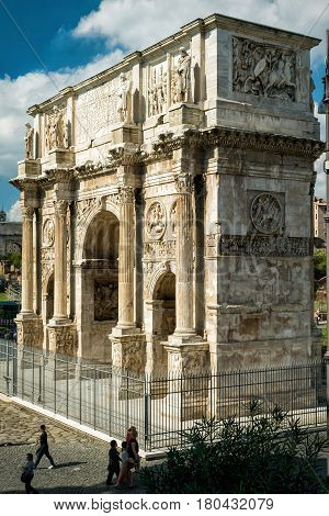 ROME - OCTOBER 4, 2012: The Arch of Constantine near Coliseum in Rome, Italy.