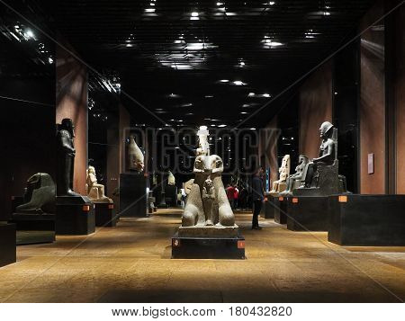 Statues At Museo Egizio (egyptian Museum) In Turin