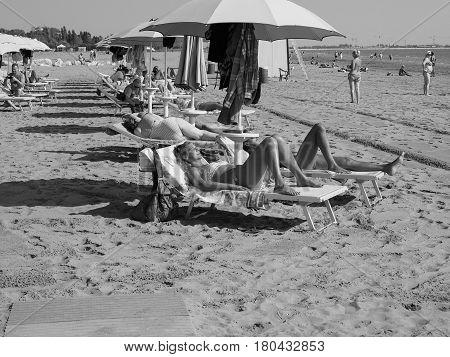 Venezia Lido Beach In Venice In Black And White