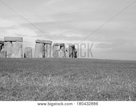 Stonehenge Monument In Wiltshire In Black And White