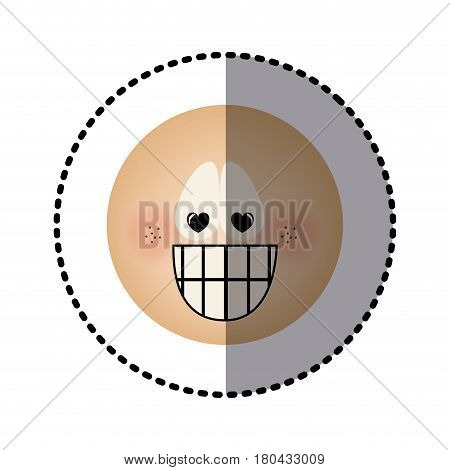sticker human face emoticon crazy in love expression vector illustration