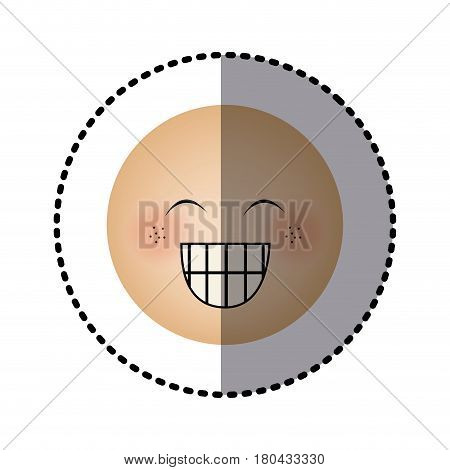 sticker human face emoticon happines expression vector illustration