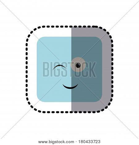 sticker square colorful shape emoticon winking expression vector illustration