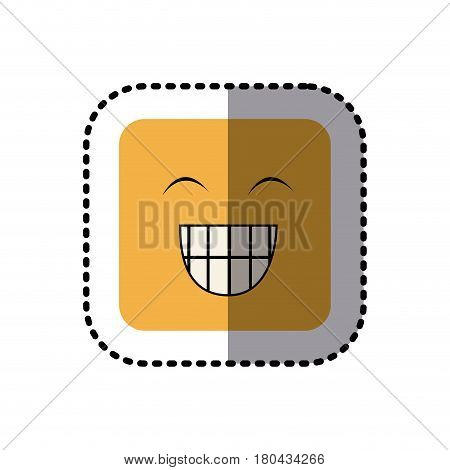 sticker square colorful shape emoticon face happines expression vector illustration