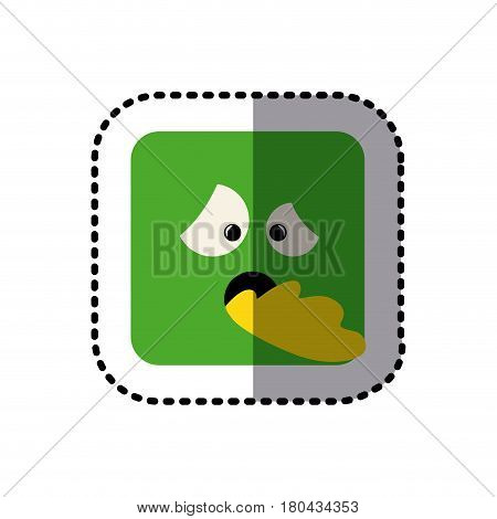 sticker square colorful shape emoticon sick expression vector illustration