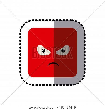 sticker square colorful shape emoticon angry expression vector illustration