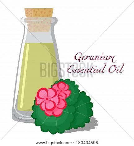 Bottle with essential oil of geranium with a flower on the background
