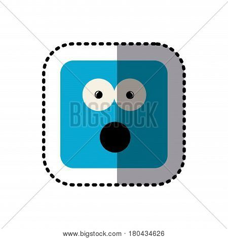 sticker square colorful shape emoticon puzzled expression vector illustration