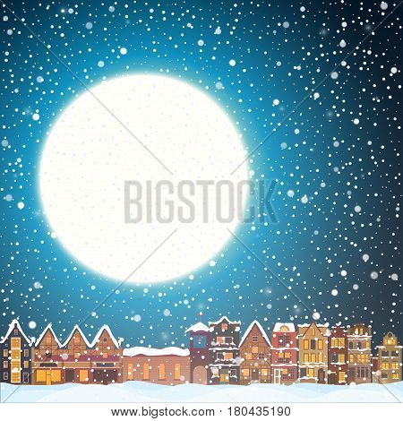 Christmas house in snowfall at the night. Happy holiday greeting card with town skyline, snow and big moon. Midtown houses panorama xmas poster. winer illustration