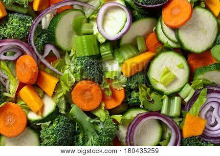 Close-up Of Sliced Raw Vegetables , Top View