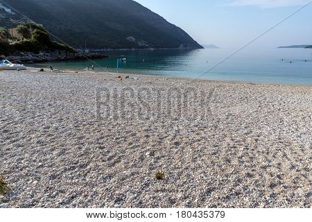 Amazing panorama of Mikros Gialos beach, Lefkada, Ionian Islands, Greece