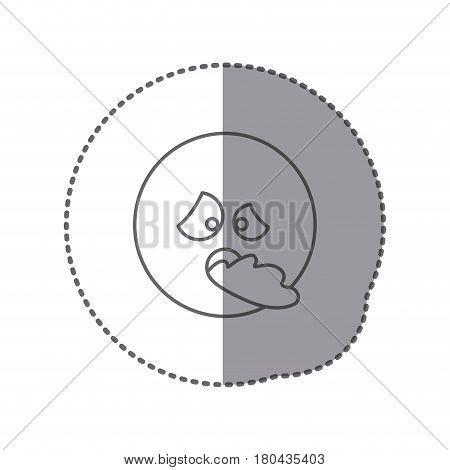 sticker silhouette emoticon face sick expression vector illustration