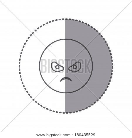 sticker silhouette emoticon face furious expression vector illustration