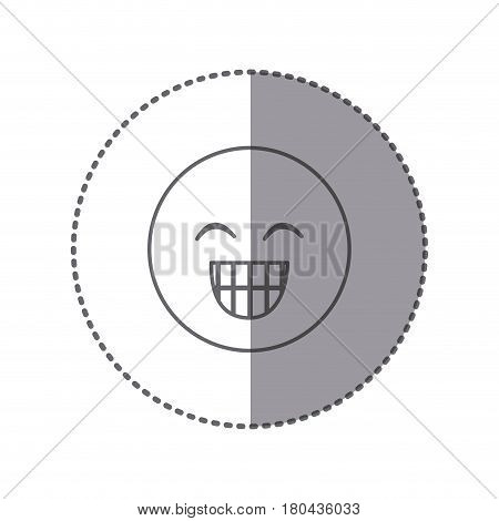 sticker silhouette emoticon face happines expression vector illustration