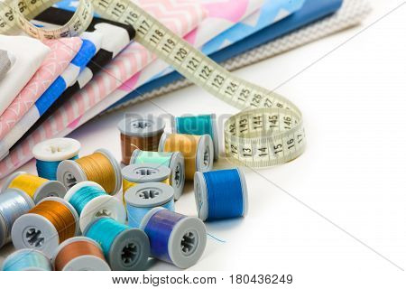 Cotton Fabric Material, Tailor Measurement Tape And Spools Of Cotton Thread