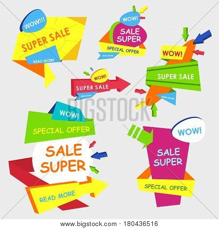Super Big Sale shining banner on colorful background. Geometric design label. Super sale tag and special offer. Advertising coupon sign. Graphic illustration
