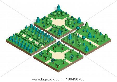 Isometric view projection summer landscape. Nature appearance of park with trees. Set for design your own location. Stock vector.