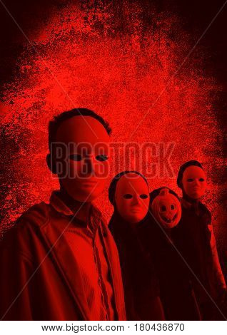 Group of people wearing mask,Scary background for book cover ideas