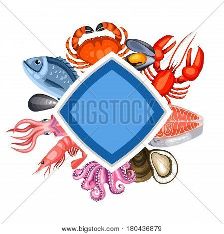 Background with various seafood. Illustration of fish, shellfish and crustaceans.