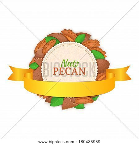 Round white frame composed of pecan nut and gold ribbon. Vector card illustration. Circle nuts frame, walnut fruit in the shell, whole, shelled, leaves for packaging design of healthy food.