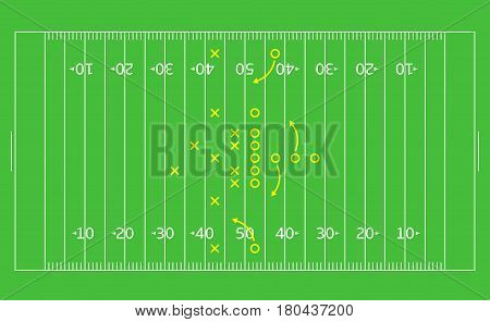 American Football game strategy plan scheme on the green background