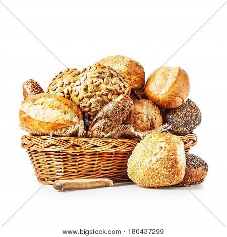 Basket of various bread rolls and buns isolated on white background clipping path included