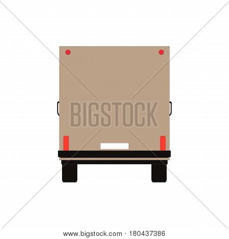 Commercial Delivery Van, back view. Cargo Truck isolated on white. Vector illustration eps10