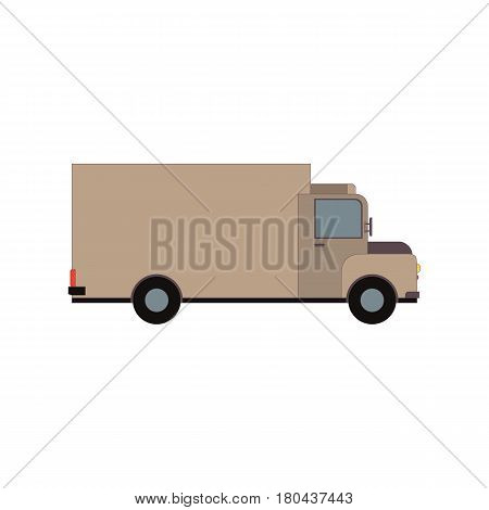 Commercial Delivery Van, side view. Cargo Truck isolated on white. Vector illustration eps10