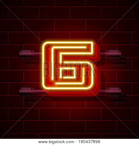 Neon city font number 6. Vector illustration collection