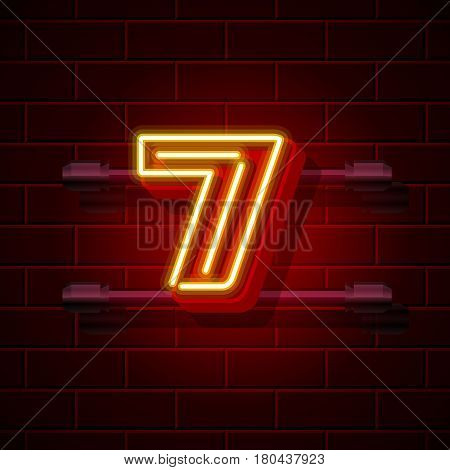 Neon city font number 7. Vector illustration collection