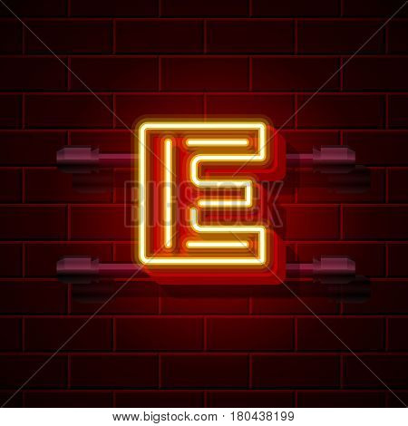 Neon city font letter E signboard. Vector illustration collection