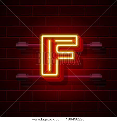 Neon city font letter F signboard. Vector illustration collection