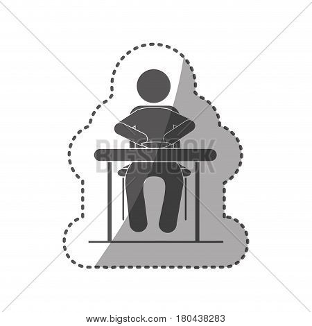 sticker black silhouette pictogram sitting in table with dish vector illustration