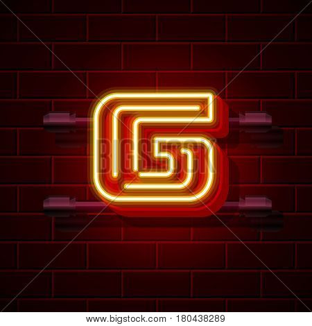 Neon city font letter G signboard. Vector illustration collection