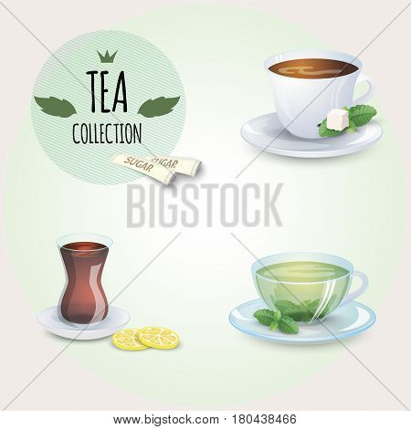 Tea collection illustration. Different styles cups and glass. Mint, black, green and oriental tea. Mint leaf and lemon slices.
